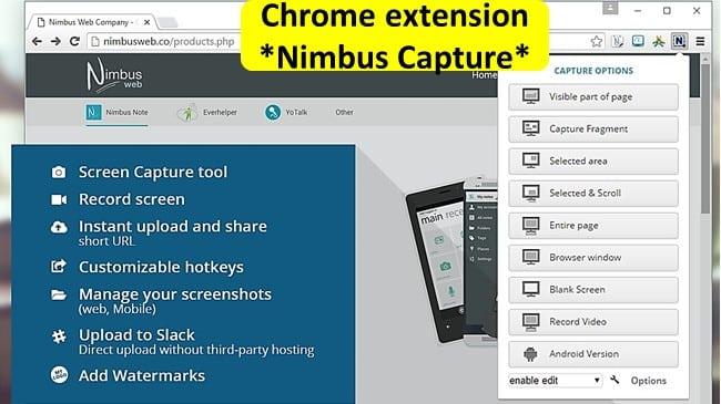 Chromebook screen capture alternative Nimbus Screenshot & Screen Video Recorder