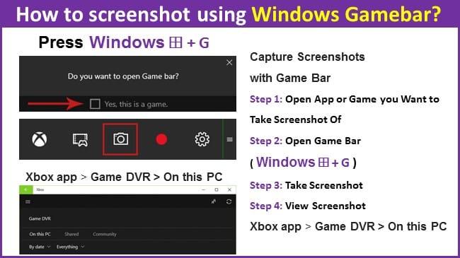 How to screenshot using Windows Gamebar?