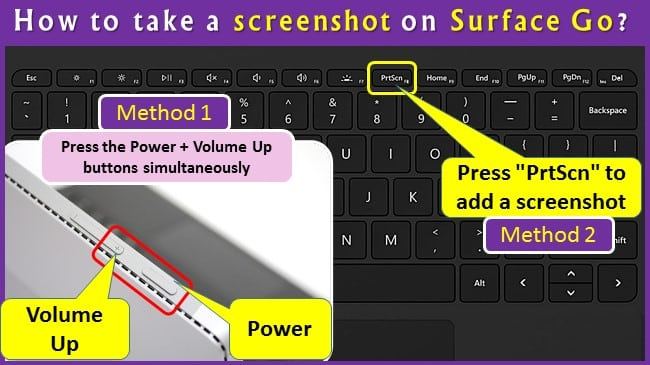 How to take a screenshot on Surface Go?