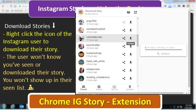 Instagram Stories download using Chrome IG Story Extension
