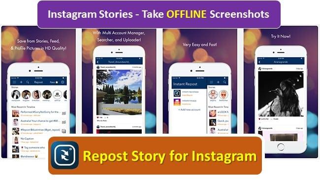 Instagram story screenshot on iOS Repost Story app