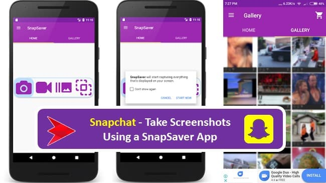 Take secret Screenshots on snapchat with SnapSaver Android