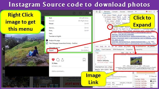 How to Use Instagram Source code to download photos?
