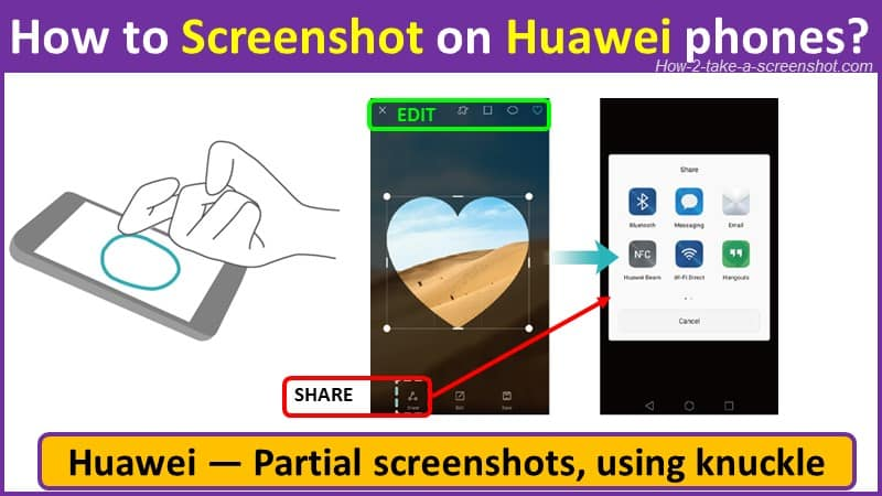 How to take Partial screenshots on Huawei using knuckle?