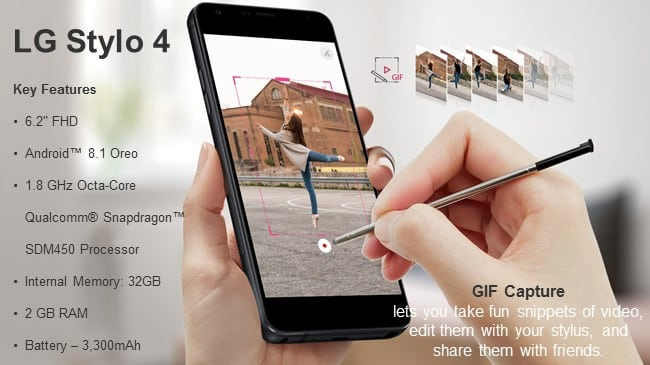 LG Stylo 4 specs and features - using GIF capture