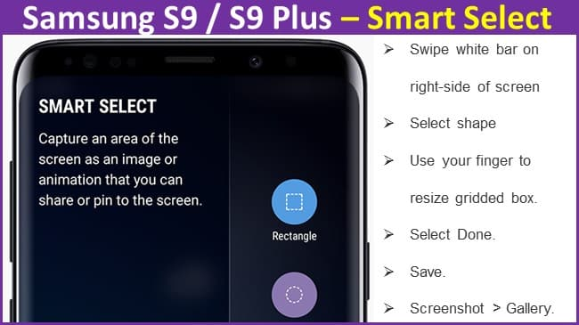 Samsung S9 Plus – Smart Select to take a screenshot