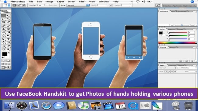 Use FaceBook Handskit to get Photos of hands holding various phones