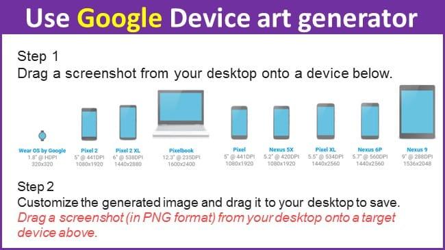 Use Google device app screenshot generator