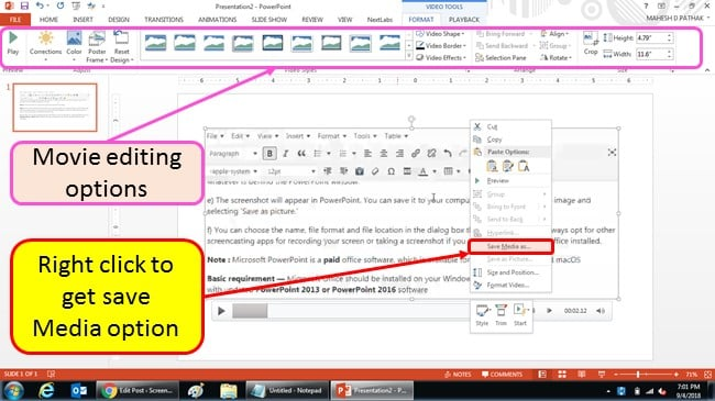 editing movie using powerpoint mp4 format